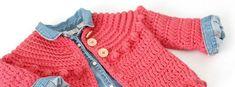 Ideas for crochet jacket girl tejido Crochet Kids Scarf, Crochet Mittens Free Pattern, Gilet Crochet, Baby Cardigan Knitting Pattern, Crochet Bikini Pattern, Crochet Beanie Hat, Crochet Jacket, Crochet Cardigan, Crochet Bebe