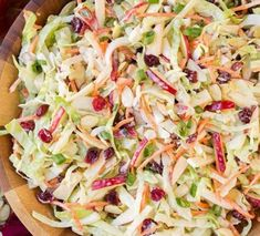 Apple Cranberry and Almond Coleslaw - Cooking Classy Easy Healthy Recipes, Raw Food Recipes, Cooking Recipes, Bread Recipes, Cooking Tips, Healthy Meals, Slaw Recipes, Fish Recipes, Cabbage Salad Recipes