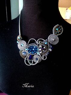 SOLD-New zipper necklace handmade uniqueart necklace