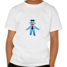 Ruffy Jazzy Blue Monkey Fun Crown Hat & Tie T Shirts