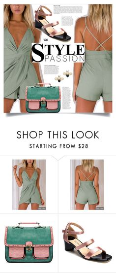 """""""Yoins: Green Playsuit"""" by yoinscollection ❤ liked on Polyvore featuring Anja"""