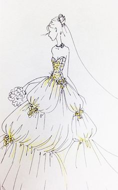 Belle Wedding Dress Sketch   2015 Disney's Fairy Tale Weddings by Alfred Angelo Wedding Dress Collection