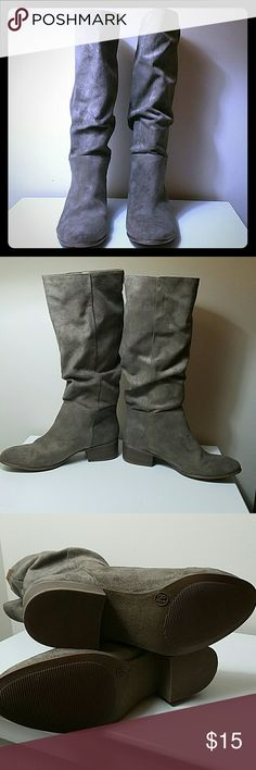 Beige  boots These have been worn only a few times. All man made materials.  EUC! Xhilaration Shoes Heeled Boots