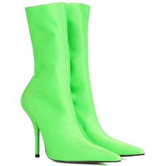 Balenciaga Knife Ankle Boots (19,670 MXN) ❤ liked on Polyvore featuring shoes, boots, ankle booties, balenciaga, scarpe, green, green ankle boots, ankle boots, short boots and green booties