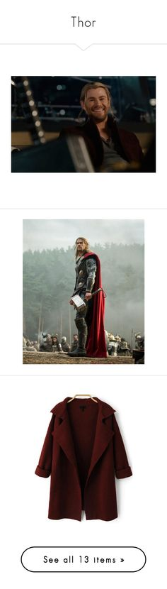 """""""Thor"""" by cherryblossoms19 ❤ liked on Polyvore featuring marvel, avengers, thor, people, pictures, chris hemsworth, marvel thor, outerwear, coats and jackets"""