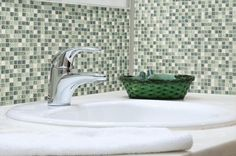 BuildDirect – Glass Mosaics - Winter Frost Series – Snow Forest - Bathroom View