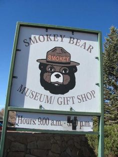 Smokey Bear Museum and Smokey Bear Historical Park in Captain, NM. The real Smokey is buried there.