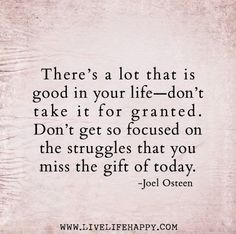 don't focus so much on the struggles or you miss the gift of today