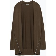 Zara Blazer With Zips (39 CAD) ❤ liked on Polyvore featuring outerwear, jackets, blazers, khaki, khaki blazer, brown jacket, khaki jacket, zara blazer and zip jacket