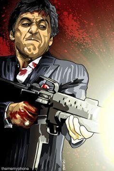 Tony Montana Narcos Wallpaper, Mafia Wallpaper, Scarface Poster, Scarface Movie, Angel Devil Tattoo, Angel And Devil, Boondocks Drawings, Gangster Tattoos, Joker Art