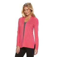 Women's Croft & Barrow® Essential Open Front Cardigan, Size: Medium, Med Pink