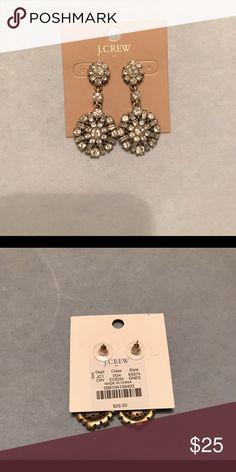 J.Crew Rhinestone Earrings J.Crew Rhinestone Earrings/ NWT never been worn. The are very sparkly rhinestones with brushed/ antiqued gold. J. Crew Jewelry Earrings