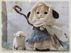 ネコとヒツジ 羊毛フェルト ハンドメイド