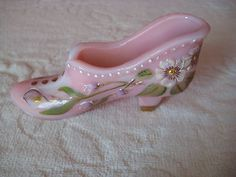 Fenton Glass Pink Shoe Hand Painted Old Fashioned Boot Signed White Green Gold Floral Motif. Fancy Shoes, Pink Shoes, Me Too Shoes, Ceramic Shoes, Glass Ceramic, Faberge Jewelry, Fenton Glassware, Glass Shoes, Glass Slipper