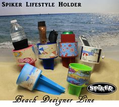 BRAND NEW for SPRING/SUMMER ~NEW SPIKER LIFESTYLE HOLDER~ Presenting: The BEACH designer line  A quality American Made Spiker with exterior grade vinyl wrap in full color. Which one do you want? FLIP FLOP PINK NAUTICAL RED BEACHY BLUE SUNSHINE LIME SUMMER WHITE SEASHELL BLUEBERRY Contact your local gift boutique to match  your Spiker to a beach towel and beach bag. contact us for a dealer near you: sales@spikercompany.com 800.790.5409 Dealer inquiries: www.spikerwholesale.com
