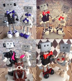 Handmade Robot Wedding Cake Toppers, Made to Order and Customizable, $115.00