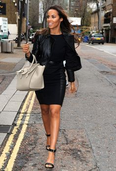 7c6298e2eea77 Looking good: Rochelle Humes of The Saturdays cuts a stylish figure outside ITV  studios,