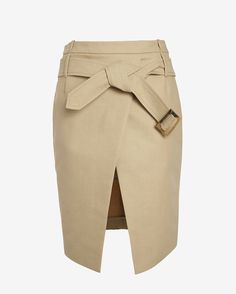 Barbara Bui Belted Asymmetric Mini Wrap Skirt: Khaki