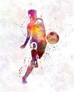 Man soccer football player 10 - poster watercolor wall art gift splatter sport soccer illustration print artistic - SKU 1454
