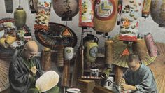 """Lantern Makers"". Hand-colored postcard [Theodor Eismann Company], about 1910, Japan The Kimono Gallery"