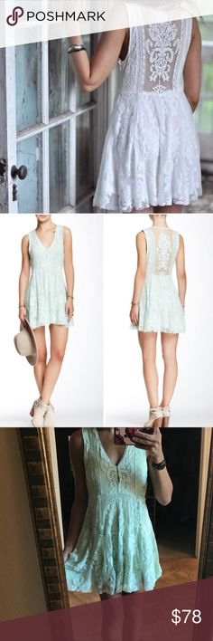 Free People Reign Over Me Sleeveless Lace Dress 0 Free People Reign Over Me Sleeveless Lace Dress in mint green. Sleeveless version of FP fave Reign Over Me Dress, this deep V mini dress has a sheer mesh overlay with beautiful embroidery and scalloped trim. Hidden side zip. Lined. Beautiful statement Crochet back. Hook and eye closure in the front to make the V neck deeper. Boho and chic look. Size 0, may fit 2 or xs as well. Only selling because I'm looking for the white! Free People…
