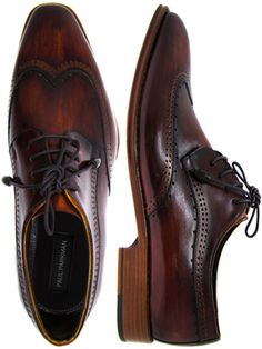 Paul Parkman Men's Wingtip Derby Shoes Tobacco & Bordeaux Hand-Painted Leather Upper with Leather Sole
