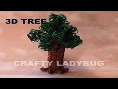 Rainbow Loom 3D TREE Part 1 (Advanced). Designed and loomed by Crafty Ladybug. Click photo for YouTube tutorial. 07/03/14.