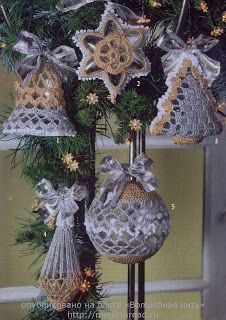Patterns/charts for crocheted, beaded, and tatted Christmas ornaments (must be translated)