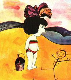 """Eduardo Muñoz Bachs (Cuba). Ilustración para """"Monigote en la arena"""", de Laura Devetach. Casa de las Américas, 1975."""