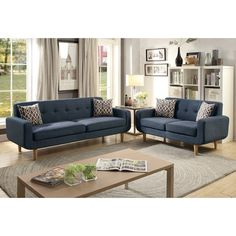 Venters Dorris Fabric 2 Piece Living Room Set