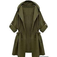 Womens Plain Hooded Drawstring Waist Trench Coat Green ($31) ❤ liked on Polyvore featuring outerwear, coats, green, hooded coat, green hooded coat, trench coat, hooded trenchcoat and green coat