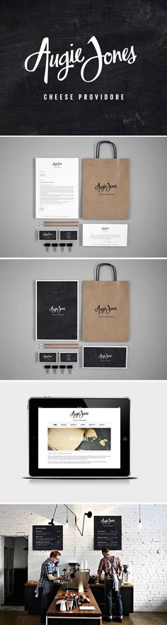 identity follows simple and clean structure complement high quality products . The logotype is a combines hand lettered logo and a strong, clean typeface.palette is neutral and warmth is given to identity through textures such as chalkboards and brown kra