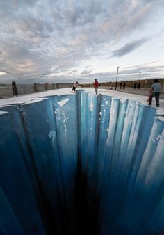 3d chalk art. TOTALLY thought it was real, until I read the caption!