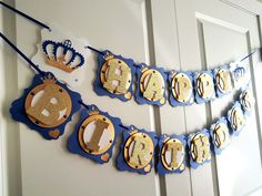 Royal Prince Banner by NishsCreations on Etsy Prince Crown, Royal Prince, Crown Cutout, Creative Banners, Baby Banners, Golden Heart, Glitter Cardstock, Blue Ribbon, No Time For Me