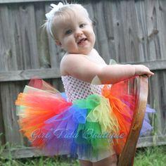 Multi color del arco iris Little Kids TulleTutu vestido infantil del bebé del cumpleaños Christams de fiesta de las muchachas del desfile Formal Vestidos(China (Mainland))