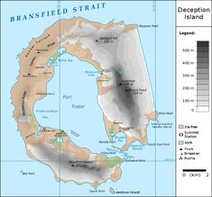Deception island is considered one of the safest harbors in the antarctic, but true to its name, there is more than meets the eye to the island, as its also the caldera of an active volcano which has erupted no less than three times during the last ce. Deception Island, City Layout, Character And Setting, Island Map, Safe Harbor, Active Volcano, Historical Maps, Antarctica, Geography