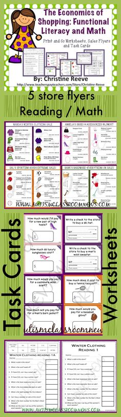 This is an easy print-and-go set of math / shopping activities for students working on money skills in elementary school or life skills classes. Put the sales flyers in a page protector, print out the worksheets, and either cut out the task cards for single use or put them in a photo album or laminate for re-use. $15