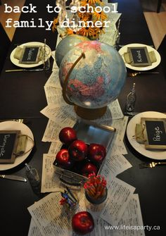 Back to School Family Dinner -start a new tradition with a Back to School themed dinner after the first day of school.  Lots of easy decor ideas here to help create some special family memories.