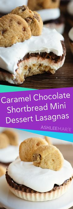 mini and bite-sized dessert lasagnas are made with a Walkers Shortbread as the crust! They are easy to make and crazy delicious! With a shortbread cookie base, caramel no bake cheesecake and chocolate pudding layers and topped with whipped cream! Bite Size Desserts, Mini Desserts, No Bake Desserts, Easy Desserts, Dessert Recipes, Impressive Desserts, Cheesecake Recipes, Salted Caramel Chocolate, Chocolate Caramels