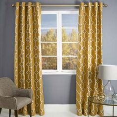 Dunelm Geometric Durable Yellow Seville Lined Eyelet Curtains