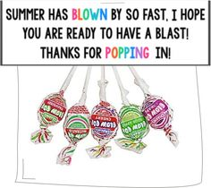 Teach Junkie: 31 creative back to school treats for students {printables} - Blow Pop School Treat Bag Toppers