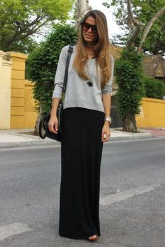 pair your maxi with a slim sweater. add a long necklace to break up the look