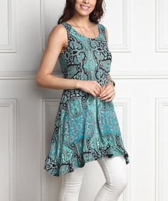Another great find on #zulily! Blue Paisley Ruffle-Hem Sidetail Tunic - Plus #zulilyfinds
