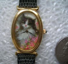Vintage Avon Cat Watch - Pretty Pussycat Battery Analog Timepiece - Cute Kitty Wristwatch Oval Face Leather Band