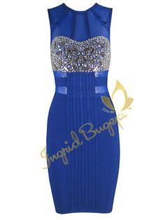 'Jade' Royal Blue Crystal Beaded Mesh Bodycon Bandage Dress by Ingrid Bugeja