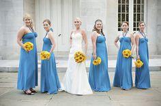 Azul Vestidos de damas