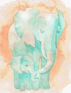 8x10 PRINT Minty Blue and Peach Mom and by PinkPoppyWatercolors