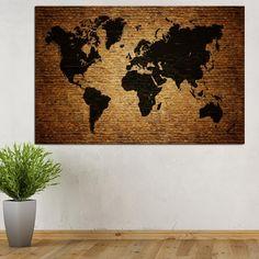 Πίνακας σε καμβά Brick World map (παγκόσμιος χάρτης σε τοίχο με τούβλο) Bath Mat, Brick, Map, Rugs, Home Decor, Farmhouse Rugs, Bricks, Maps, Interior Design