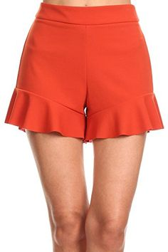MeshMe Womens Irene  Rust Pumpkin Spice Latte Ginger Orange High Waist Ruffle Flared Bottoms with Back Zipper Hi Waisted Ruffled Flare Classic Fall Autumn Vintage Couture Retro Shorts Medium *** To view further for this item, visit the image link.  This link participates in Amazon Service LLC Associates Program, a program designed to let participant earn advertising fees by advertising and linking to Amazon.com.