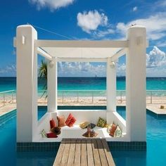The Art of Luxury Beachfront Living located on Dawn Beach, St. Maarten at Coral Beach Club - A captivating luxury retreat for complete relaxation of body & soul. Barbados, Jamaica, Willemstad, Outdoor Spaces, Outdoor Living, Indoor Outdoor, Dream Vacations, Vacation Spots, Tourist Spots